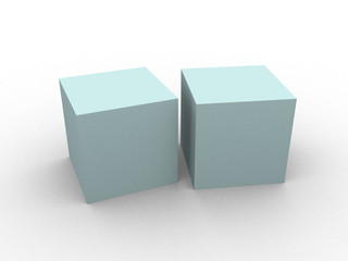 blue 3d cube isolated over white