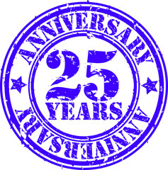 25 years anniversary rubber stamp, vector illustration