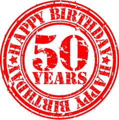 50 years happy birthday rubber stamp, vector illustration