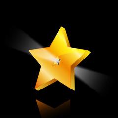 golden star with light