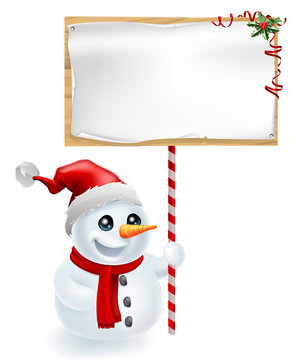 Christmas Snowman and Sign