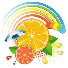 Slices orange  and grapefruit ,juicy fruit