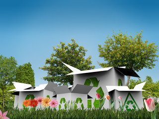 recycle boxes in a green garden