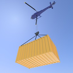 Helicopter with container