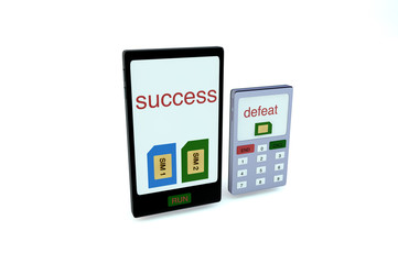 Smartphone with two sim cards and text SUCCess on screen stand n
