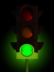 3d traffic green light