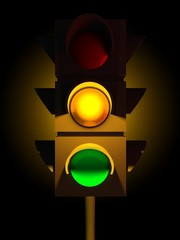 3d traffic yellow light