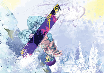 snowboarder (this is drawing converted into vector)