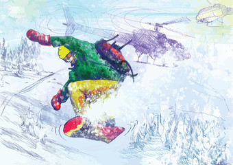 Paramedic snowboarding (drawing converted into vector)