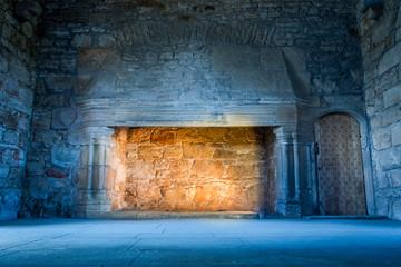 Fotobehang Kasteel Warm and cold light in medieval castle