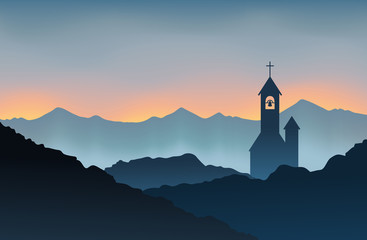 Obraz Monastery on the Mountain - fototapety do salonu