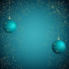 blue and golden christmas background