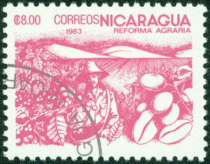 stamp printed in NICARAGUA shows image of agrarian reform
