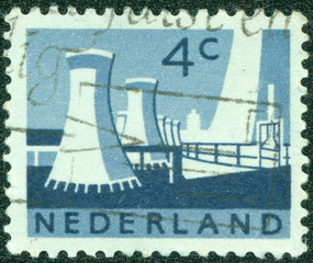 stamp shows Cooling Towers, Limburg State Coal Mines