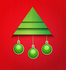 vector background Christmas tree and balls