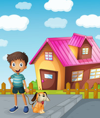 Poster Dogs boy, dog and house