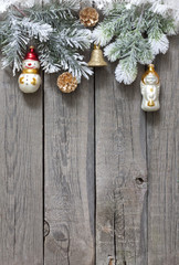 Christmas tree baubles background on vintage wooden boards