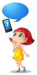 girl and handset with call out