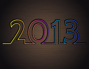 2013 new year on the dark metal background