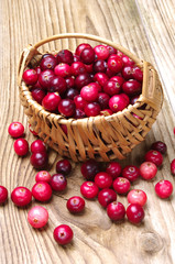 Cranberries with basket