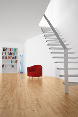 Room with stairs and seat