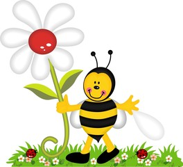 Spoed Fotobehang Lieveheersbeestjes Happy bee holding flower in garden