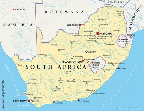 South Africa map (Südafrika Landkarte)\