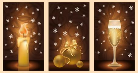 Set golden christmas banners, vector illustration