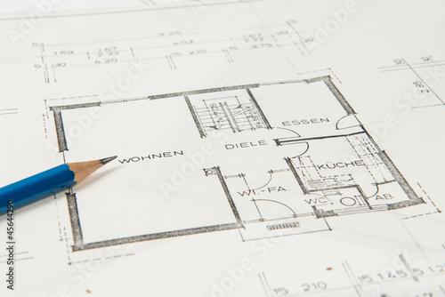 Bauplan einfamilienhaus mit bleistift stockfotos und for Einfamilienhaus bauplan