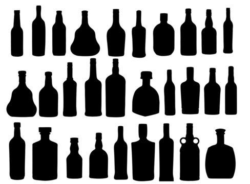 vector illustration silhouette alcohol bottle
