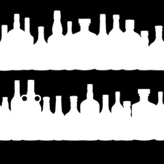 vector illustration silhouette alcohol bottle seamless pattern