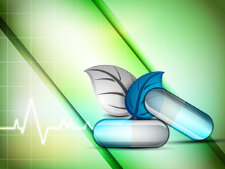 Abstract medical background with  herbal capsule. EPS 10.