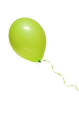 Hellgrüne Ballon mit Band freigestellt