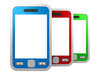 set of colorful touchscreen smartphones on white background