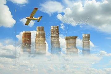 Obraz Coins, Growth Diagram, Plane Against the Sky - fototapety do salonu