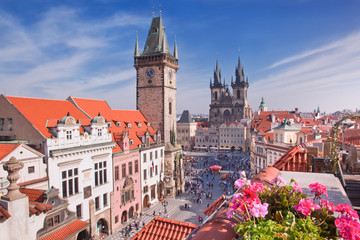 Tuinposter Praag Prague Cathedral and Clock Tower