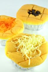 Sponge cake with golden threads thai dessert topping