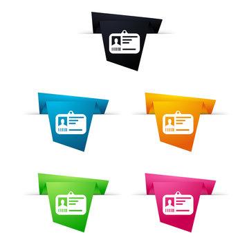 Symbole vectoriel papier origami carte accès / pass