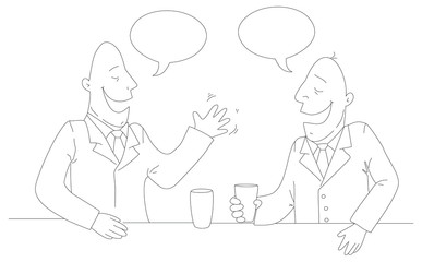 Two businessman drinking tea