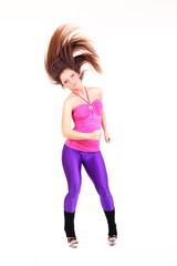 happy fitness woman dancing