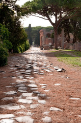 Fototapete - Antique roman way and buildings at Ostia Antica - Italy - Rome