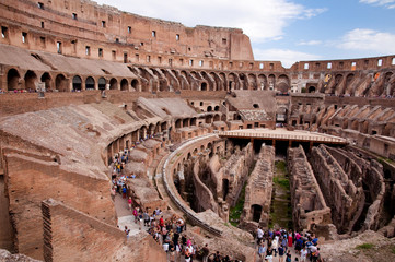 Wall Mural - Coliseum - Inside view with tourists -  Roma - Italy