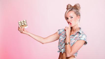 pinup girl Woman eating chocolate portrait