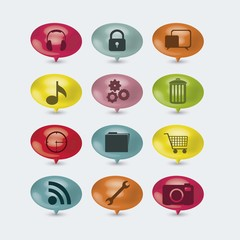 illustration of internet icons and buttons