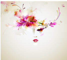 Fotobehang Bloemen vrouw Beautiful fashion women with abstract design elements
