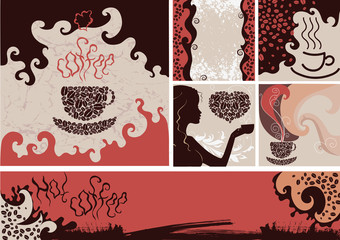 Set of coffee backgrounds