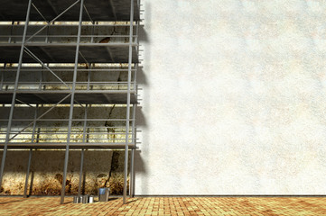3d scaffolding and renovated wall