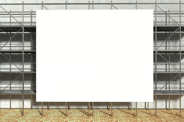 3d scaffolding and blank advertising billboard
