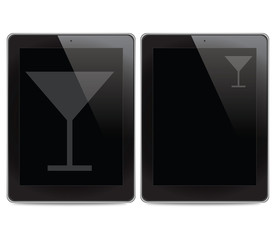 Drink icon on tablet computer background