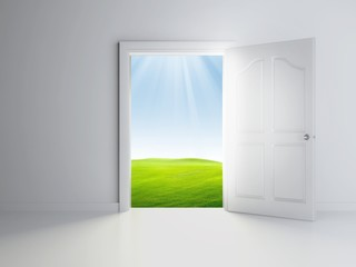 3d open door in empty room, landscape view